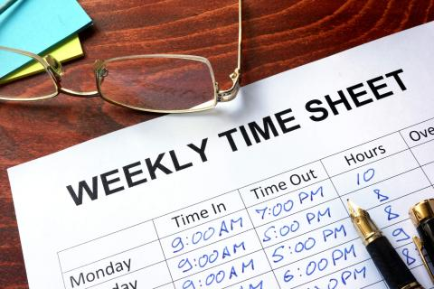 a weekly time sheet ready for payroll